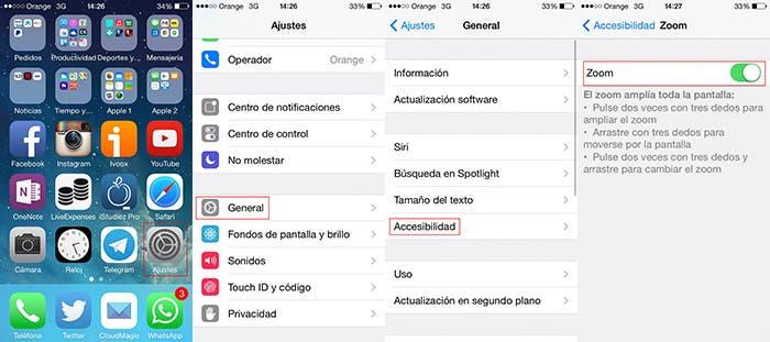 Activar zoom en un iPhone 5s