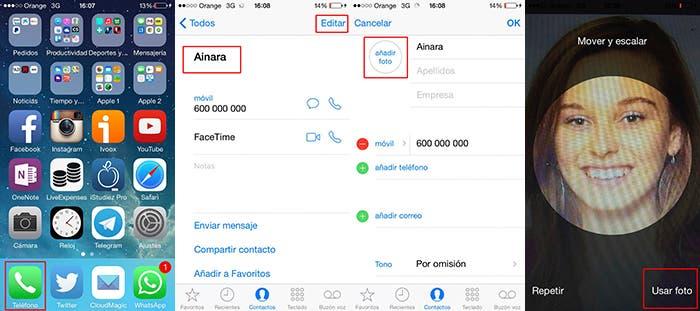 Capturas sobre como asignar contactos desde la aplicación Teléfono