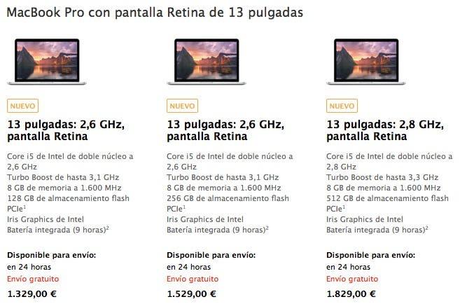 Renovación de la gama MacBook Pro con pantalla Retina