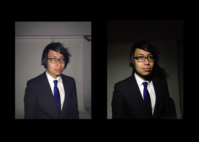 Resultado de foto sin técnica a la izquierda y con técnica a la derecha