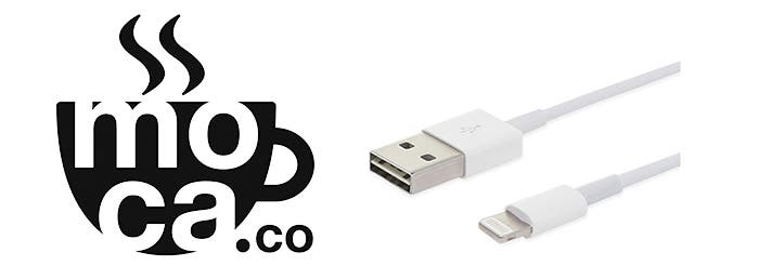Logotipo de Moca.co junto a cable Lightning