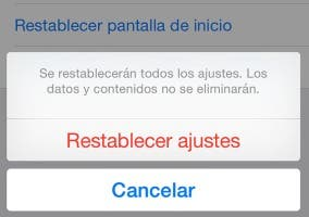 Menú para restablecer iOS 8