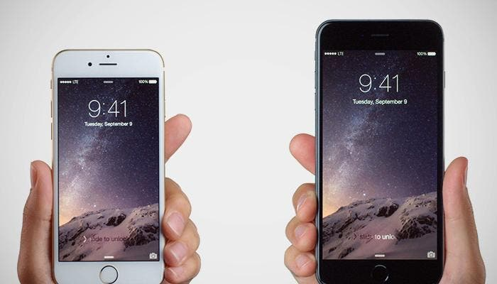 Manos sujetando el iPhone y iPhone 6 Plus