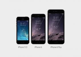 iPhone 5s junto a los nuevos iPhone 6