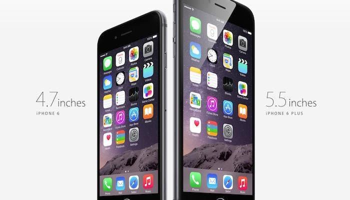 Comparación de tamaños entre iPhone 6 y 6 Plus