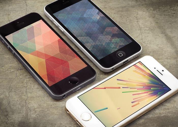 Wallpapers geométricos en varios iPhone