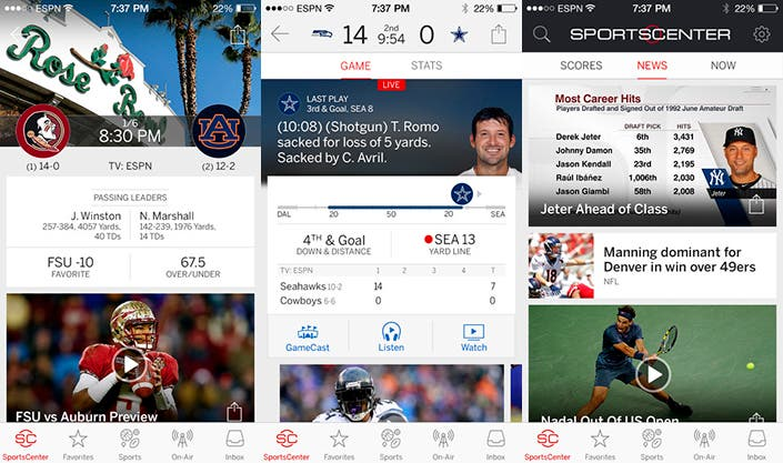 Aplicación ESPN SportsCenter