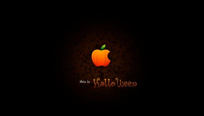 Logo de Apple transformado con motivo de Halloween