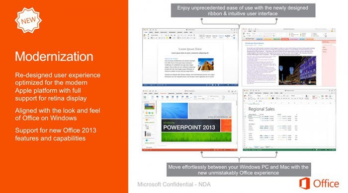 Filtración de nuevas imágenes de Office para Mac