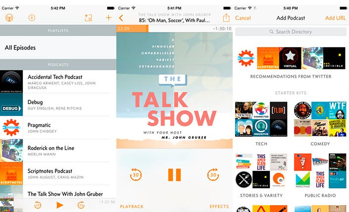 Capturas de pantalla de la aplicación Overcast
