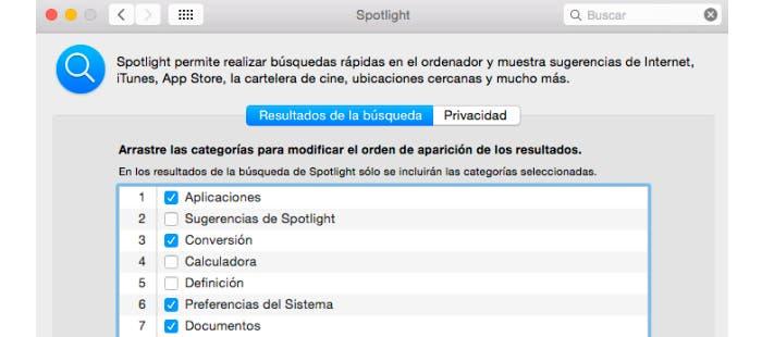 Personaliza la búsqueda en Spotlight en OS X Yosemite