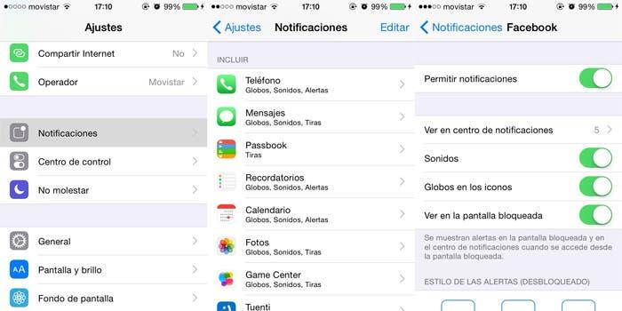 Proceso para quitar las notificaciones en iPhone 4s con iOS 8