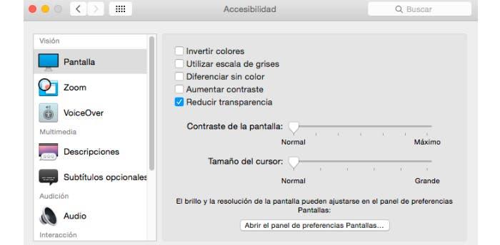 Reduce las transparencias de la nueva apariencia de OS X Yosemite