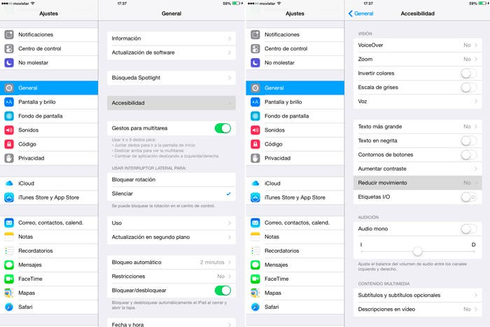 Cómo reducir el movimiento en iOS 8 para iPad 2