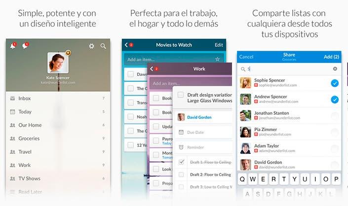 Capturas de pantalla de la aplicación Wunderlist