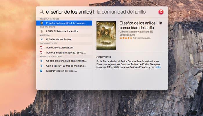 Búsqueda en el nuevo Spotlight de OS X Yosemite