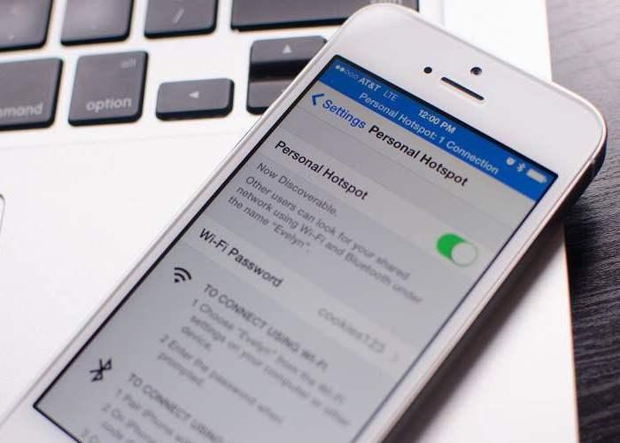 iPhone compartiendo internet con Hotspot
