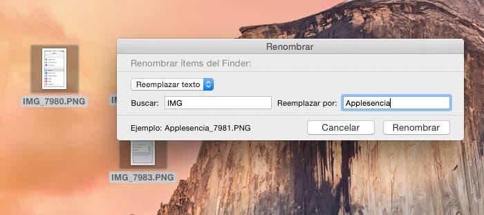 Reemplazar texto renombrado masivamente en OS X Yosemite