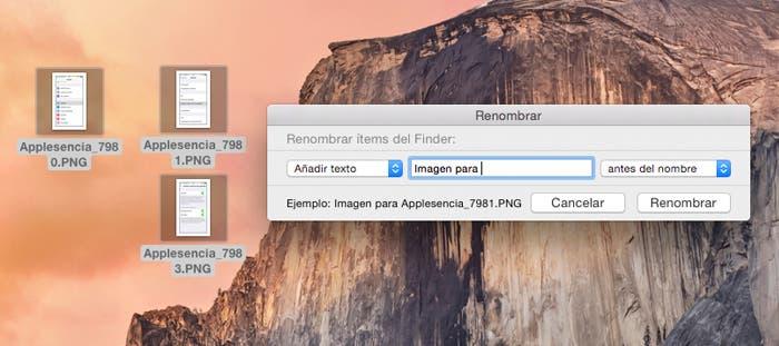 Renombre masivamente añadiendo texto en OS X Yosemite