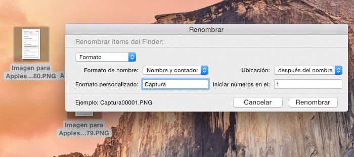 Cómo añadir formato al renombre en OS X Yosemite