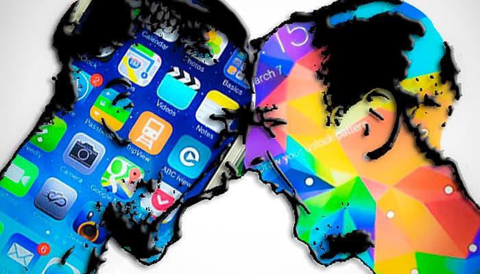 Figura de personas representadas con imágenes de Apple y Samsung