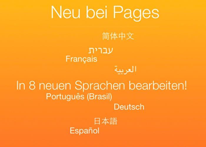 Actualización de iWork para iCloud con nuevos idiomas