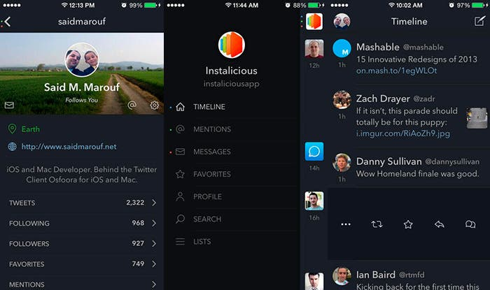 Capturas de pantalla de Osfoora, cliente de Twitter