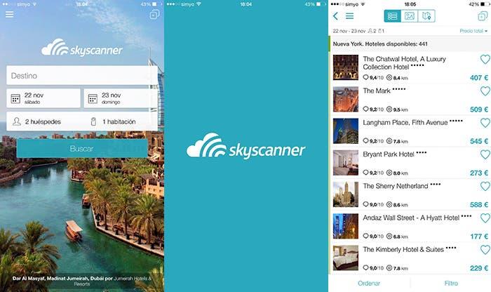 Aplicación Skyscanner Hoteles