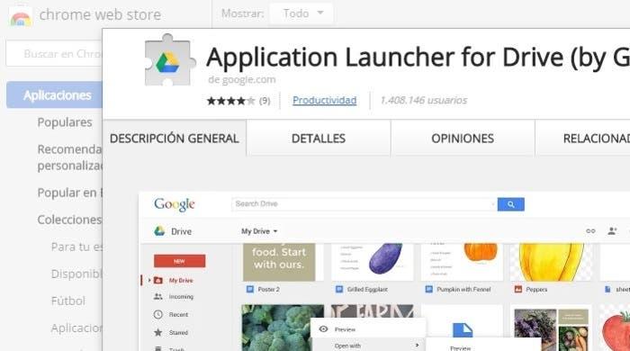 App Launcher For Drive en el Chrome Web Store