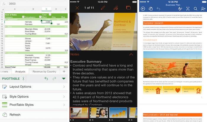 Capturas de Office para iOS