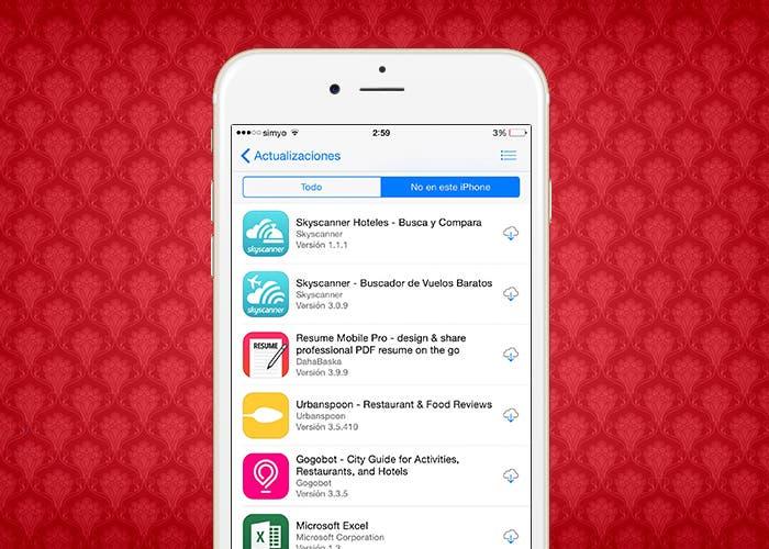 Lista de aplicaciones ya adquiridas en la App Store