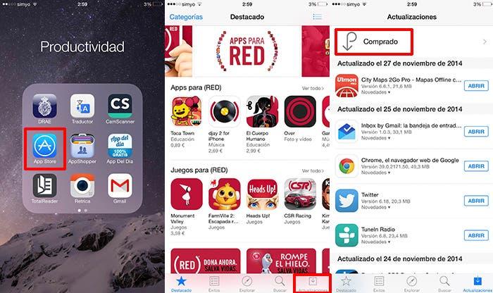 Vuelve a descargar lo que ya compraste en otros iPhone o iPad