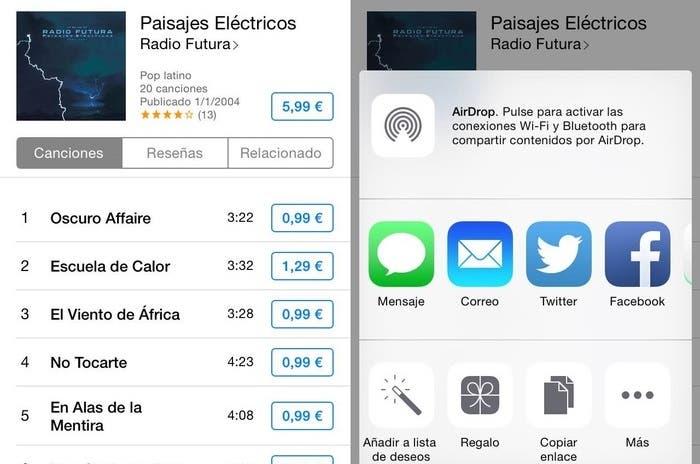 Regalar contenido de iTunes desde el iPhone