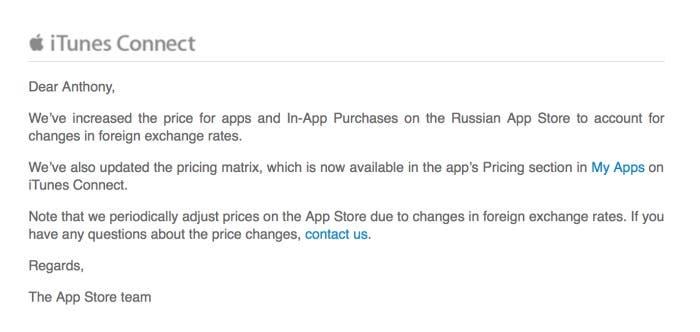Comunicado del equipo del App Store rusa