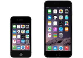 Comparativa de tamaños entre el iPhone 4s y el iPhone 6 Plus