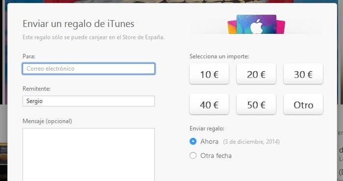 Pantalla para regalar vale de compra de iTunes