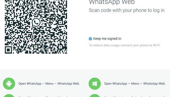 Ventana de bienvenida de WhatsApp Web