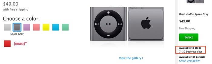 Tiempo de envío de iPod shuffle