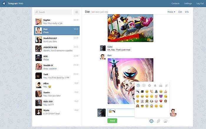 Captura del cliente web de Telegram