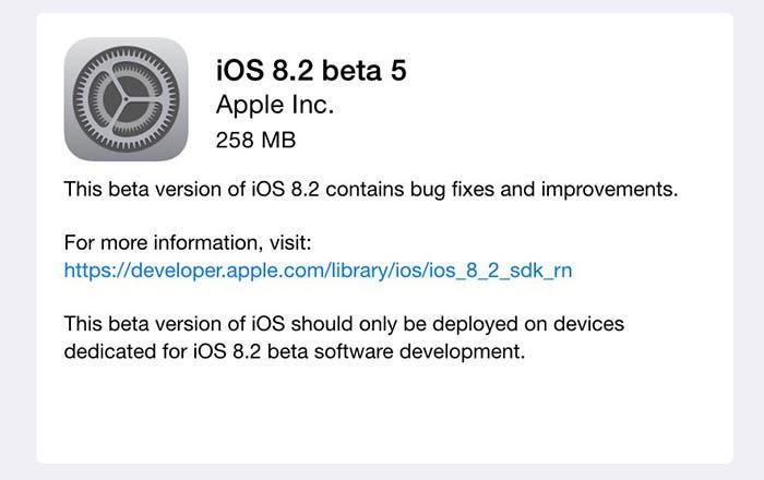 iOS 8.2 beta 5 para iPhone y iPad