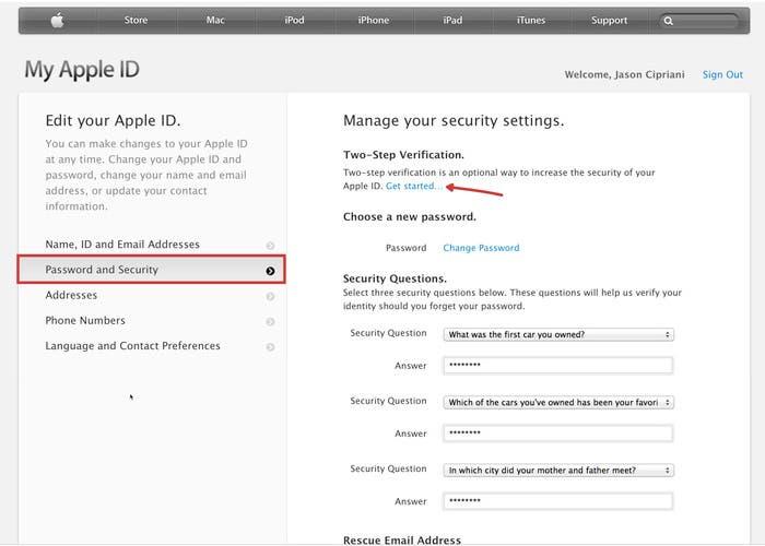Verificación en dos pasos en Apple ID