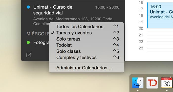 Grupos de calendarios en Fantastical 2 para Mac