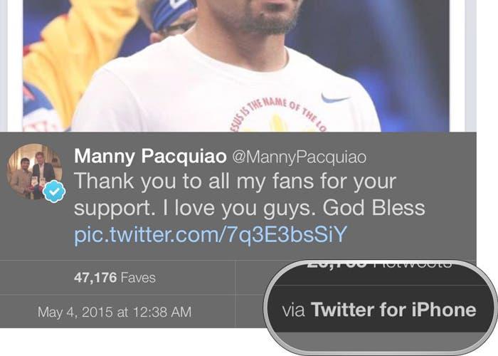 Tweet del Pacquiao desde un iPhone