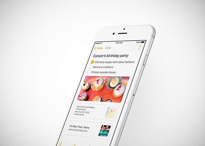 Notas en iOS 9 en iPhone