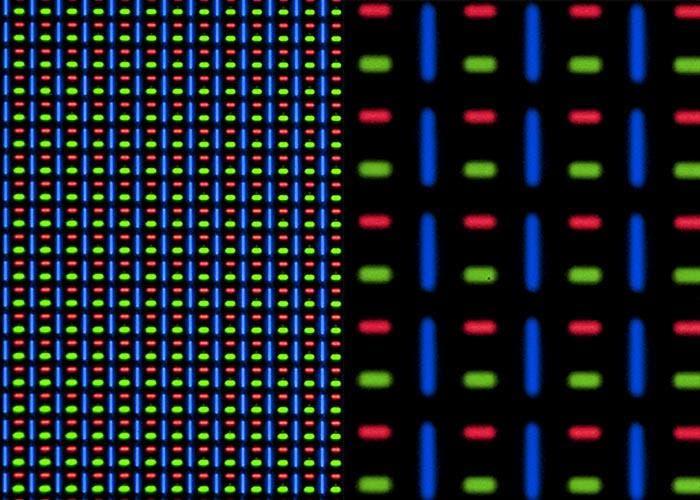 Vista bajo el microscopio de la pantalla del Apple Watch