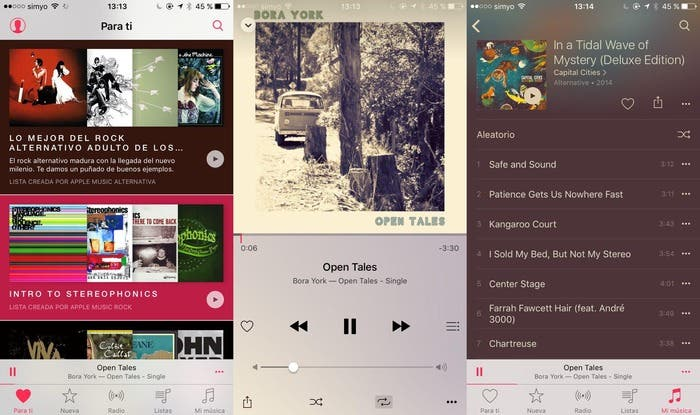 Captura de pantalla de Apple Music redim