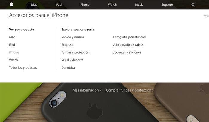 Nuevo diseño de la web de accesorios de Apple