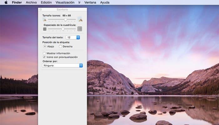 Opciones de visualización en Mac