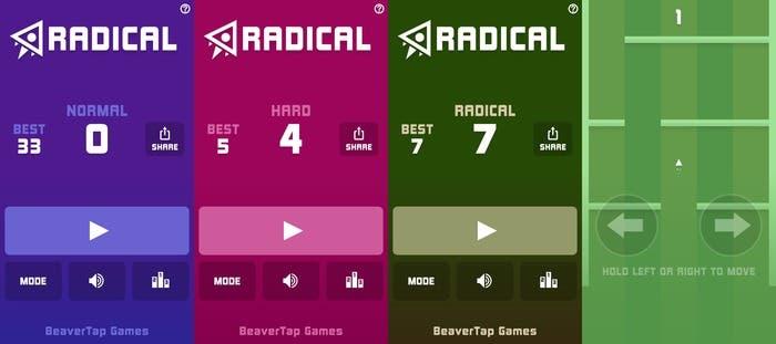 Varias capturas de la app Radical