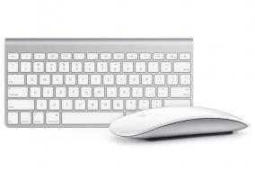 Vista general de un Apple Keyboard y un Magic Mouse